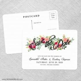 Bouquet De Fleurs Nb2 Save The Date Postcards No Envelope Needed