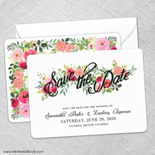 Bouquet De Fleurs Nb2 Save The Date Wedding Card