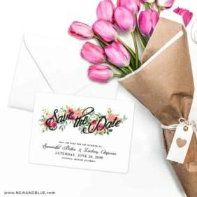 Bouquet De Fleurs Nb2 Save The Date Cards With Envelope
