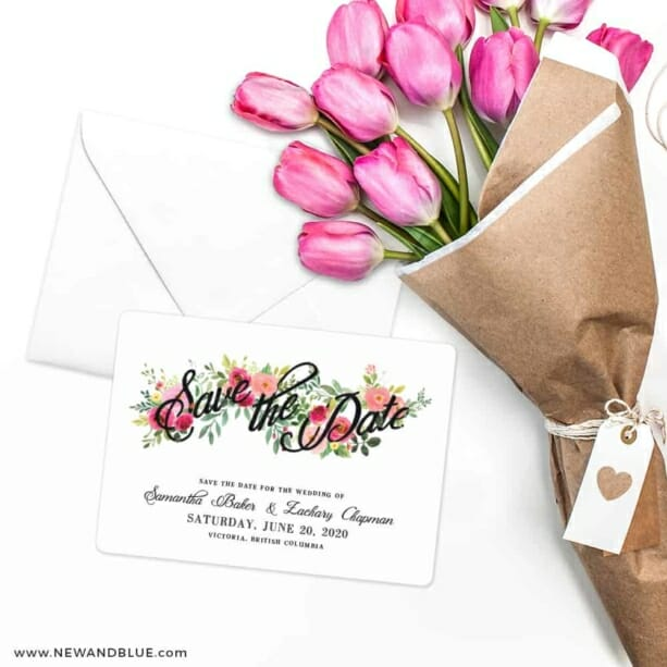 Bouquet De Fleurs Nb2 Save The Date Cards With Envelope