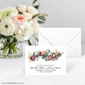 Bouquet De Fleurs Nb2 Save The Date Card With Envelope