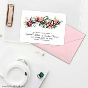 Bouquet De Fleurs Nb2 Save The Date Cards And Optional Color Envelopes