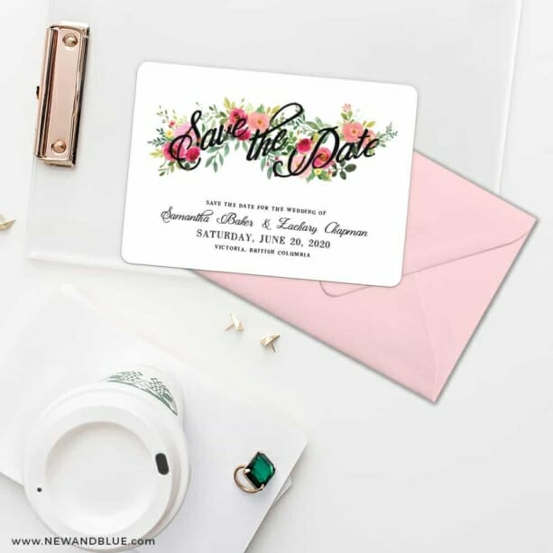 Bouquet De Fleurs Nb2 Save The Date Cards And Optional Color Envelopes