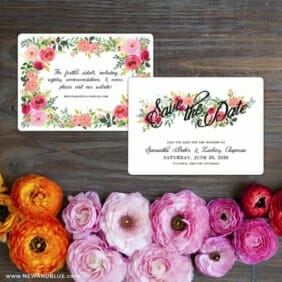 Bouquet De Fleurs Nb2 Save The Date Card With Back Printing