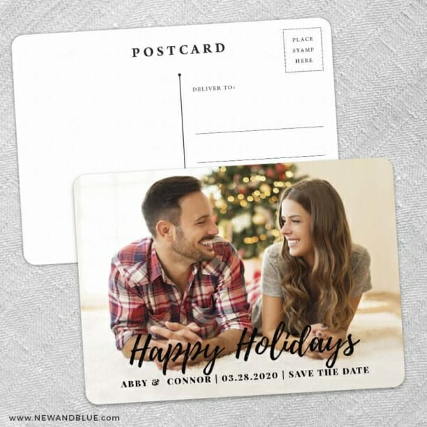 Bellevue Holiday Save The Date Wedding Postcard Front And Back
