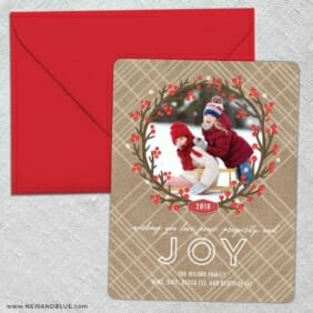 Holly Jolly Wreath 5 Save The Date With Optional Color Envelope