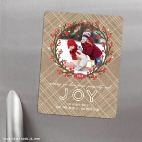 Holly Jolly Wreath 3 Refrigerator Save The Date Magnets