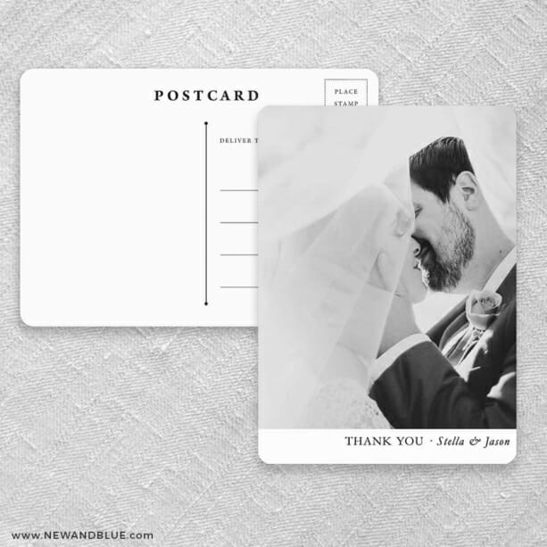 Classic Thank You Save The Date Postcards Front And Back