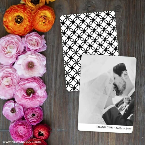 Classic Thank You Save The Date Card With Back Printing