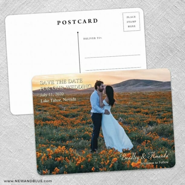 Countryside Save The Date Wedding Postcard Front And Back