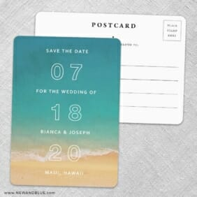 Classic Outline Save The Date Wedding Postcard Front And Back