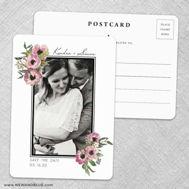 Bloom Nb Save The Date Wedding Postcard Front And Back