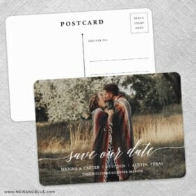 Scripted Romance Save The Date Wedding Postcard Front And Back