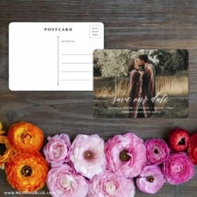 Scripted Romance Save The Date Postcard With Back