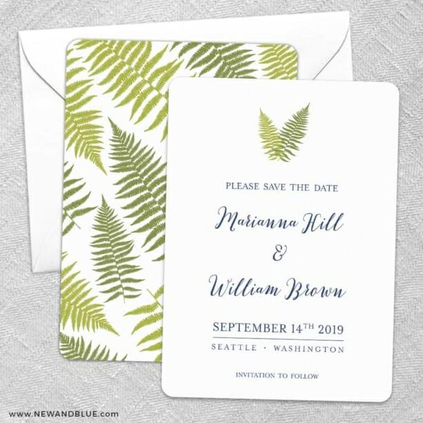Fern Save The Date Wedding Card