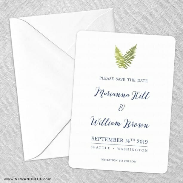 Fern Save The Date Party Card