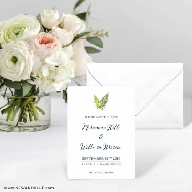 Fern Save The Date Card With Envelope
