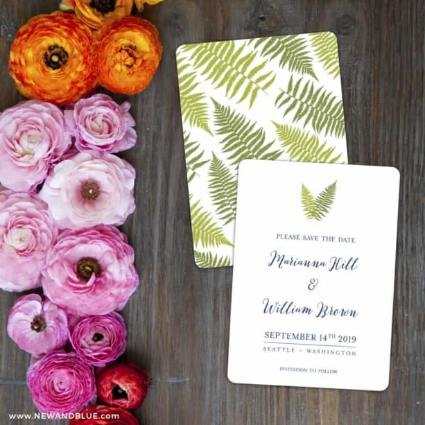Fern Save The Date Card With Back Printing