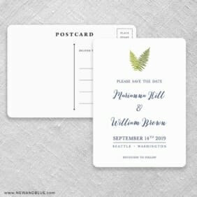 Fern Save The Date Postcards Front And Back