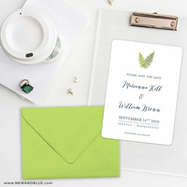 Fern Save The Date Cards And Optional Color Envelopes