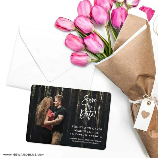 Enchanted Embrace Save The Date Cards With Envelope