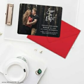 Enchanted Embrace Save The Date Cards And Optional Color Envelopes