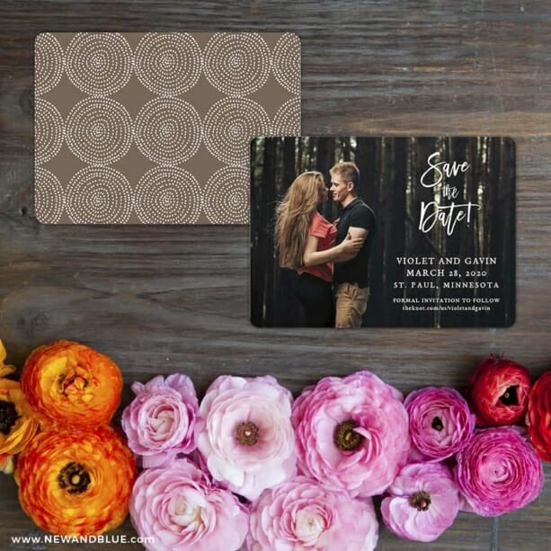Enchanted Embrace Save The Date Card With Back Printing