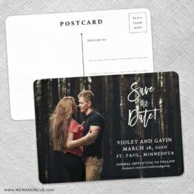Enchanted Embrace Save The Date Wedding Postcard Front And Back