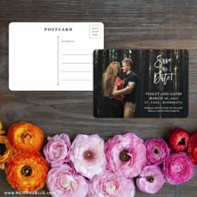 Enchanted Embrace Save The Date Postcard With Back