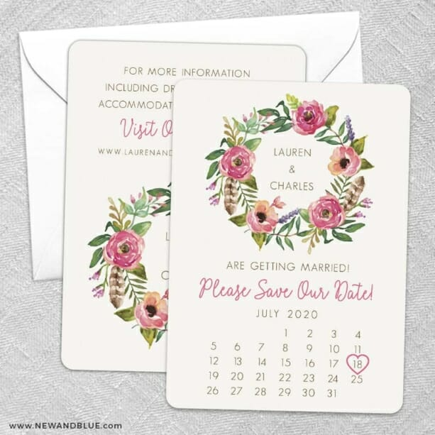 Floral Calendar Save The Date Wedding Card