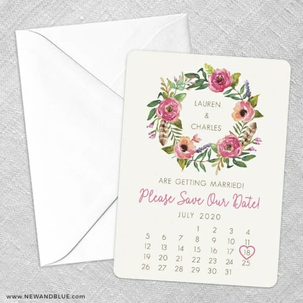 Floral Calendar Save The Date Party Card