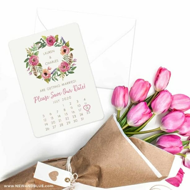 Floral Calendar Save The Date Cards With Envelope