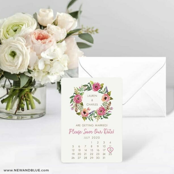 Floral Calendar Save The Date Card With Envelope