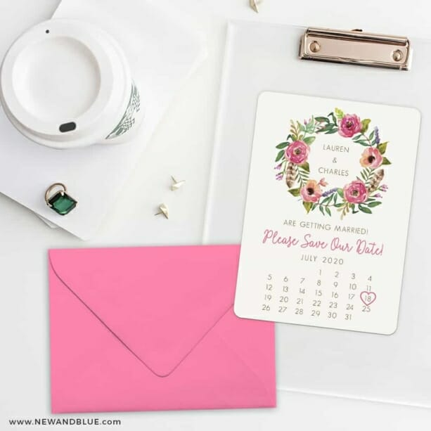 Floral Calendar Save The Date Cards And Optional Color Envelopes