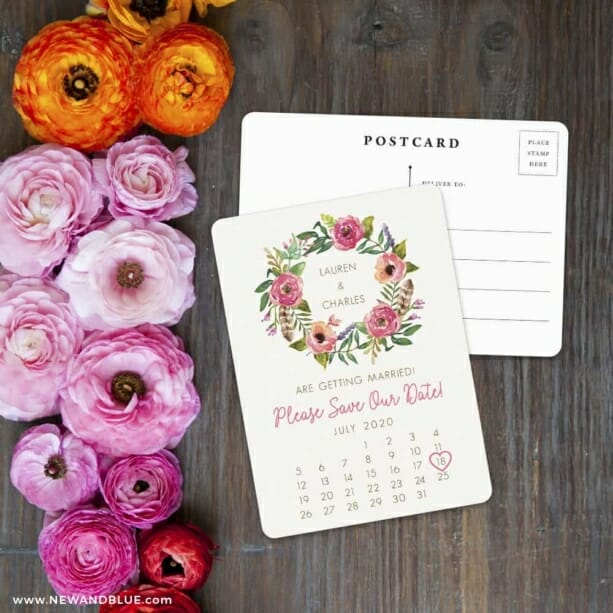 Floral Calendar Save The Date Postcard With Back