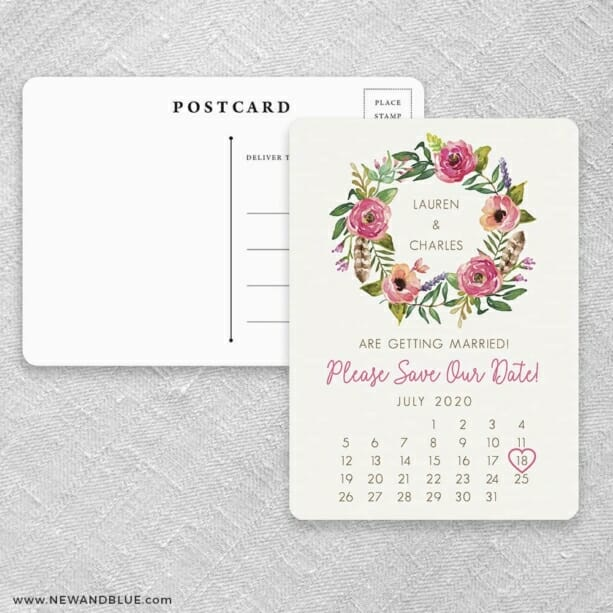 Floral Calendar Save The Date Postcards Front And Back