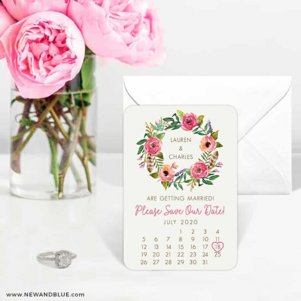 Floral Calendar 6 Wedding Save The Date Magnets