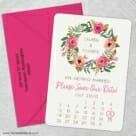 Floral Calendar 5 Save The Date With Optional Color Envelope