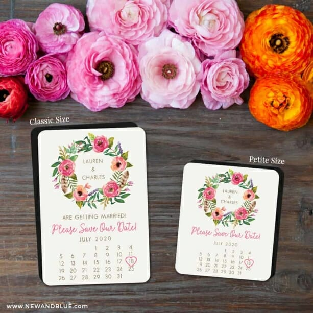 Floral Calendar 2 Save The Date Magnet Classic And Petite Size