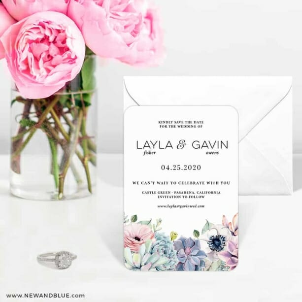 Botanical Nb 6 Wedding Save The Date Magnets