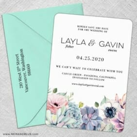 Botanical Nb 5 Save The Date With Optional Color Envelope