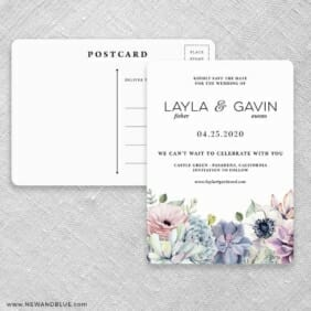Botanical Nb Save The Date Postcards Front And Back