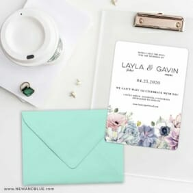 Botanical Nb Save The Date Cards And Optional Color Envelopes