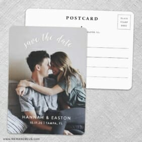 Curved Script Save The Date Wedding Postcard Front And Back