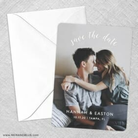 Curved Script Save The Date Party Card