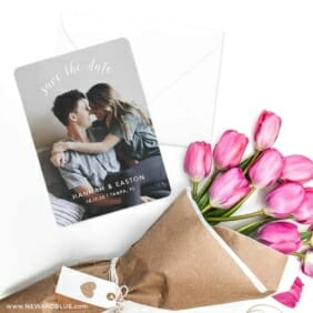 Curved Script Save The Date Cards With Envelope