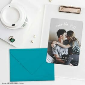 Curved Script Save The Date Cards And Optional Color Envelopes