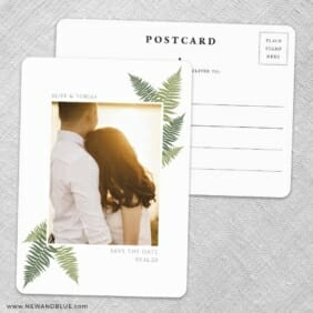 Framed In Ferns Save The Date Wedding Postcard Front And Back