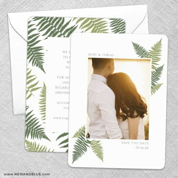 Framed In Ferns Save The Date Wedding Card