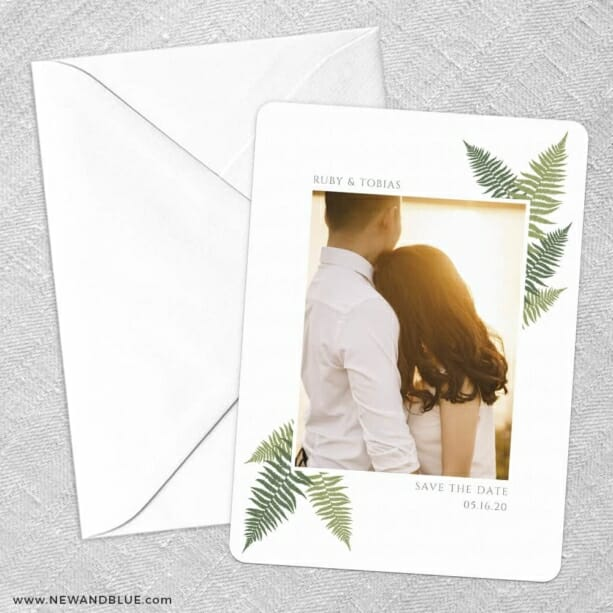Framed In Ferns Save The Date Party Card